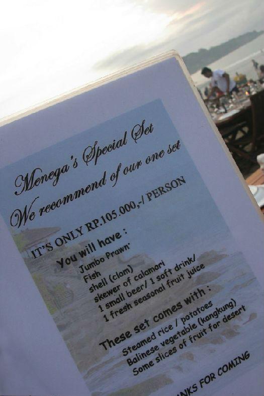 Специальное предложение ресторана ''Menega''