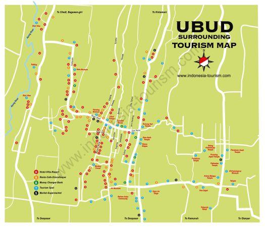 Туристическая карта Убуда, Бали