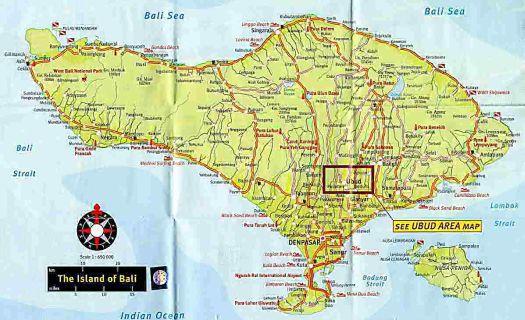 Убуд на карте Бали